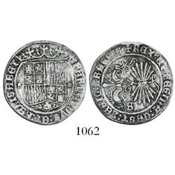 Seville, Spain, 1 real, Ferdinand-Isabel, mintmark S on reverse, * on each side of shield.