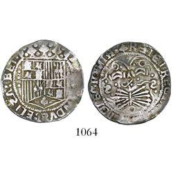 Seville, Spain, 1 real, Ferdinand-Isabel, mintmark dot-S-dot (backwards) twice on reverse, three dot