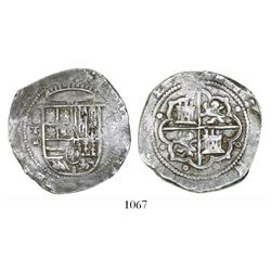 Toledo, Spain, cob 8 reales, Philip II, assayer M-in-circle below mintmark oT to left.