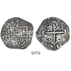 Seville, Spain, cob 2 reales, 1588 (date to right of shield), assayer Gothic D to left below mintmar