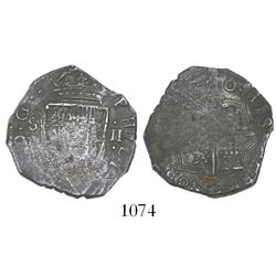 Seville, Spain, cob 2 reales, Philip III, (16)10B, rare (unlisted).