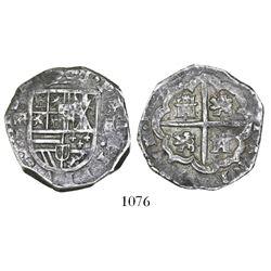 Segovia, Spain, cob 4 reales, Philip IV, assayer R below aqueduct mintmark to left.