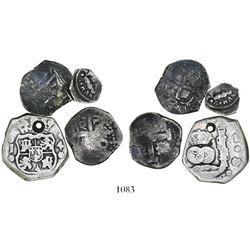 Lot of 4 Spanish colonial cob minors: Lima 2R Philip V(?); Potosi 1R 1665E; Guatemala 4R and 1/2R.