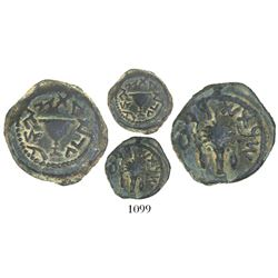 Ancient Judaea, First Jewish War (66-70 AD), AE 1/8 shekel, dated Year 4 (69/70 AD).