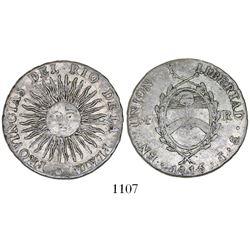 Argentina (River Plate Provinces), Potosi mint, 4 reales, 1815/5F, large sunface.