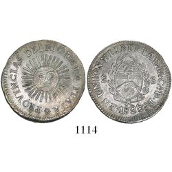 "Argentina (River Plate Provinces), La Rioja mint, 2 soles, 1825CA, variety with ""DE. BAs"" in legend."