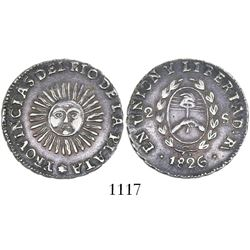 Argentina (River Plate Provinces), La Rioja mint, 2 soles, 1826 (no P), medal alignment.