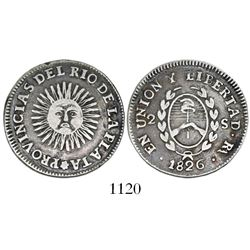 Argentina (River Plate Provinces), La Rioja mint, 2 soles, 1826 (no P), coin alignment (rare).