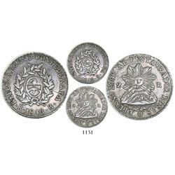 La Rioja, Argentina, 2 reales, 1843B, sunface type.