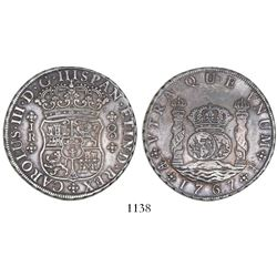 Potosi, Bolivia, pillar 8 reales, Charles III, 1767JR, 4-petal rosette below shield, rare first date