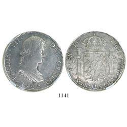Potosi, Bolivia, bust 8 reales, Ferdinand VII, 1825J, encapsulated NGC AU 50, rare.