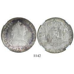 Potosi, Bolivia, bust 4 reales, Charles III, 1779PR, encapsulated NGC XF 40.
