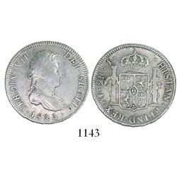 Potosi, Bolivia, bust 2 reales, Ferdinand VII, 1825J, rare.