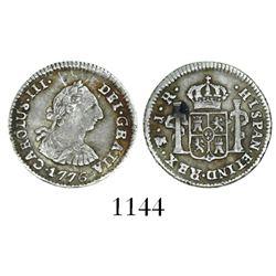 Potosi, Bolivia, bust 1/2 real, Charles III, 1776JR.