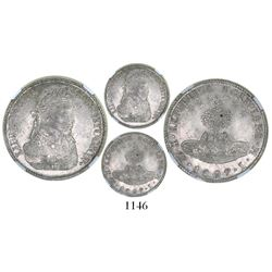 Potosi, Bolivia, 8 soles, 1827JM, large bust of Bolivar, large alpacas, encapsulated NGC MS 61 (rare