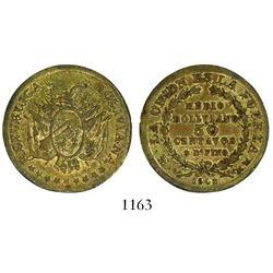 Potosi, Bolivia, pattern bronze 50 centavos, 1902MM.