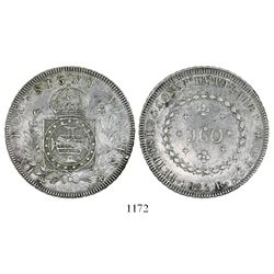 Brazil (Rio mint), 960 reis, Pedro I, 1823-R, struck over a Spanish colonial bust 8 reales of Charle