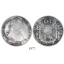 Contemporary counterfeit of a Santiago, Chile, bust 4 reales, Charles IV, 1808FJ.