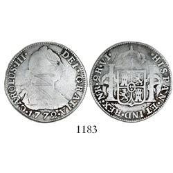 Bogota, Colombia, bust 2 reales, Charles III, 1772VJ, rare.