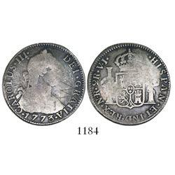 Bogota, Colombia, bust 2 reales, Charles III, 1773VJ, rare.