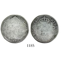 Bogota, Colombia, bust 2 reales, Charles III, 1777JJ, NR without dot, rare.
