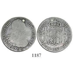 Bogota, Colombia, bust 2 reales, Charles IV, 1796JJ, rare.