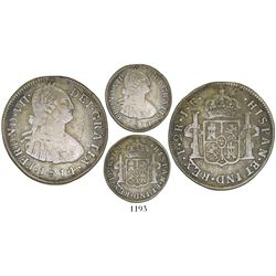 Popayan, Colombia, bust 2 reales, Ferdinand VII (bust of Charles IV), 1814/3JF, rare.