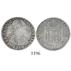 Bogota, Colombia, bust 2 reales, Ferdinand VII (bust of Charles IV), 1817FJ, ex-Ortiz Murias.