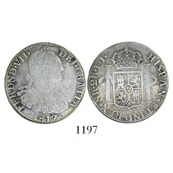 Bogota, Colombia, bust 2 reales, Ferdinand VII (bust of Charles IV), 1817FJ, no dot before HISP.