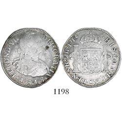 Bogota, Colombia, bust 2 reales, Ferdinand VII (bust of Charles IV), 1818FJ.