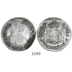 Popayan, Colombia, bust 2 reales, Ferdinand VII (bust of Charles IV), 1819MF.