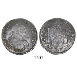 Popayan, Colombia, bust 2 reales, Ferdinand VII (bust of Charles IV), 1820/10MF.