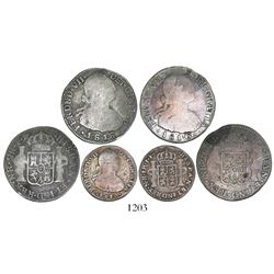 Lot of 3 Bogota, Colombia, bust minors of Ferdinand VII (bust of Charles IV): 2R 1816FJ/JJ and 1818F