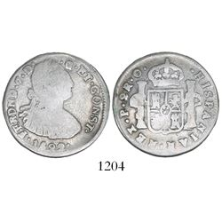 Pasto, Colombia, bust 2 reales, Ferdinand VII (bust of Charles IV), 1822O, two dots between date and