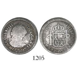 Popayan, Colombia, bust 1 real, Charles III, 1772JS.