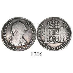 Bogota, Colombia, bust 1 real, Charles III, 1773VJ.