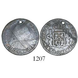 Bogota, Colombia, bust 1 real, Charles III, 1784JJ, very rare.