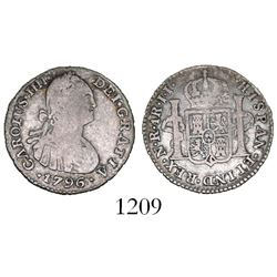 Bogota, Colombia, bust 1 real, Charles IV, 1796/1796JJ.