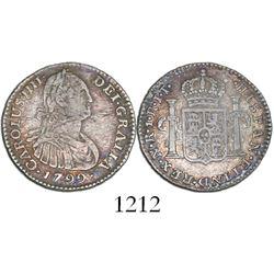 Bogota, Colombia, bust 1 real, Charles IV, 1799/99JJ, J's for I's in legends.