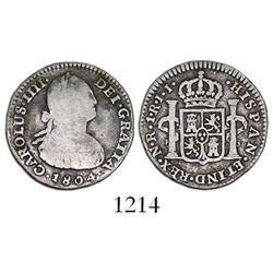 Bogota, Colombia, bust 1 real, Charles IV, 1804JJ, rare.