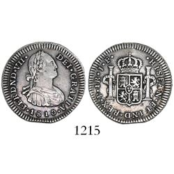 Popayan, Colombia, bust 1 real, Ferdinand VII (bust of Charles IV), 1810JF.