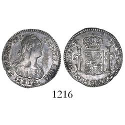 Bogota, Colombia, bust 1 real, Ferdinand VII (bust of Charles IV), 1812JF, unlisted variety with fac