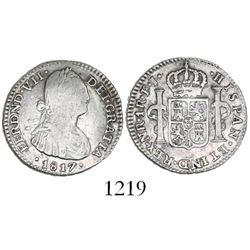 Bogota, Colombia, bust 1 real, Ferdinand VII (Charles IV), 1817FJ.