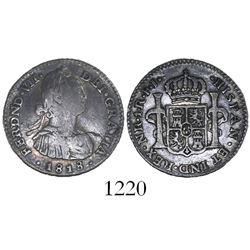 Bogota, Colombia, bust 1 real, Ferdinand VII (Charles IV), 1818FJ.