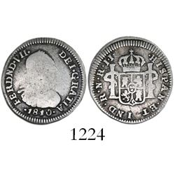 Bogota, Colombia, bust 1/2 real, Ferdinand VII (bust of Charles IV), 1810JJ with 8/8.