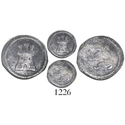 Bogota, Colombia, 1/4 real, no mintmark or date, bust-type castle and lion.