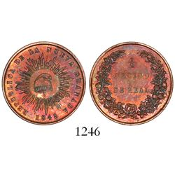 Colombia (struck in London), copper 1/2 decimo de real, 1848.