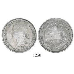 Medellin, Colombia, 50 centavos, 1886, Bogota-style head, fineness 0,500 / 0,835, rare (unlisted).
