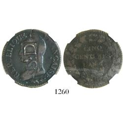Santo Domingo, Dominican Republic (under France), SD countermark (1805-9) on a French bronze 5 centi