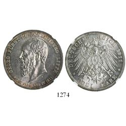 Schaumburg-Lippe (German States), 3 mark, 1911, encapsulated NGC MS 62.